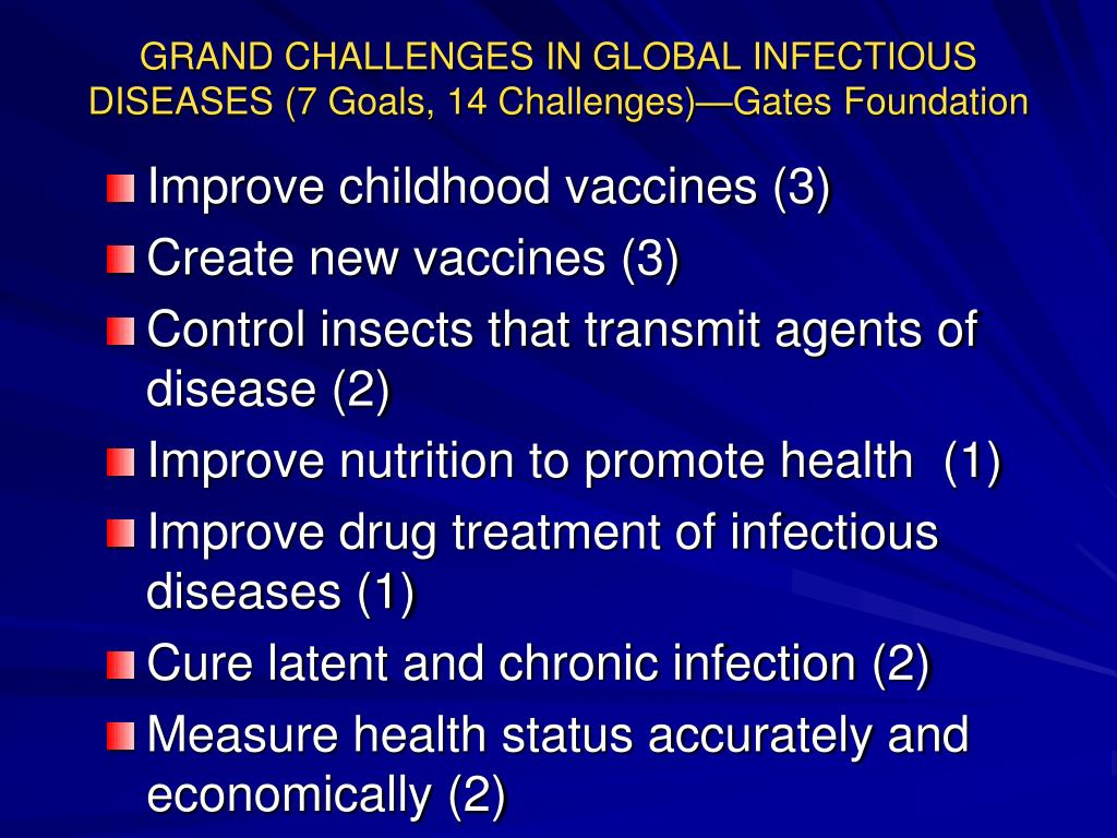 GRAND CHALLENGES IN GLOBAL INFECTIOUS DISEASES (7 Goals, 14 Challenges)—Gates Foundation