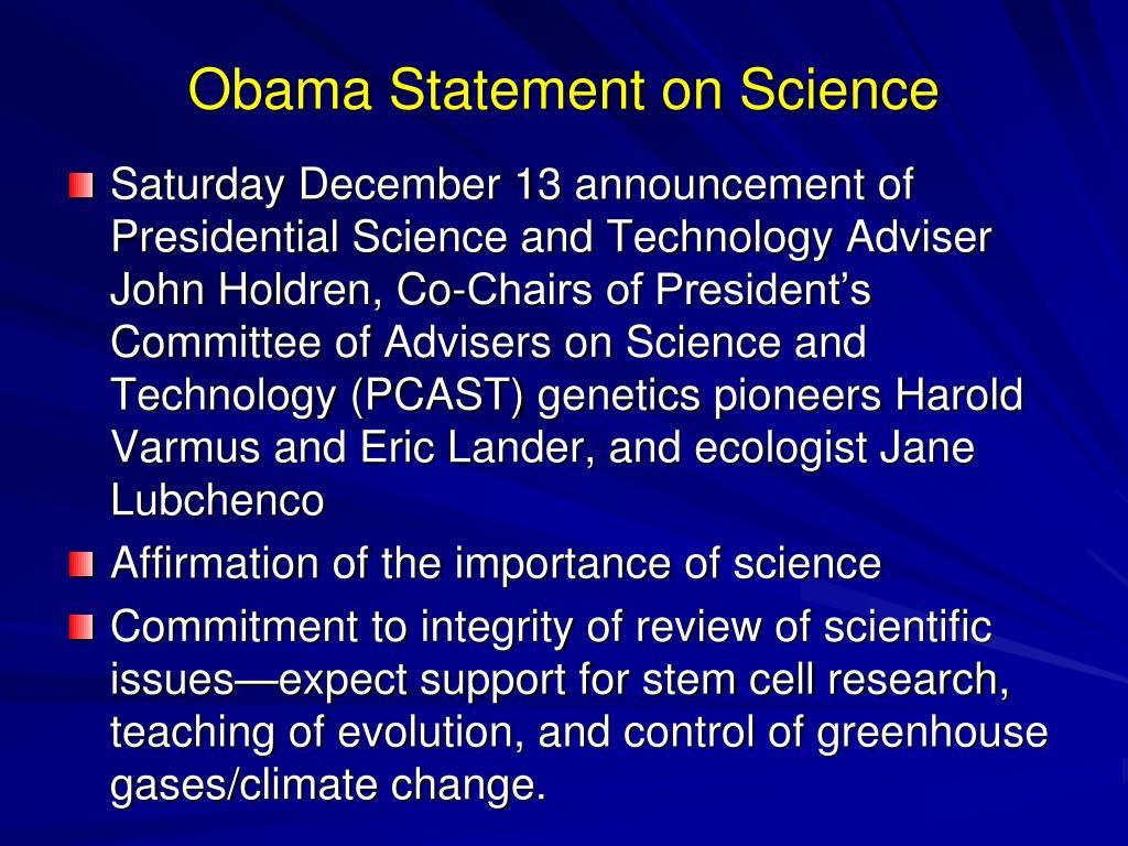 Obama Statement on Science