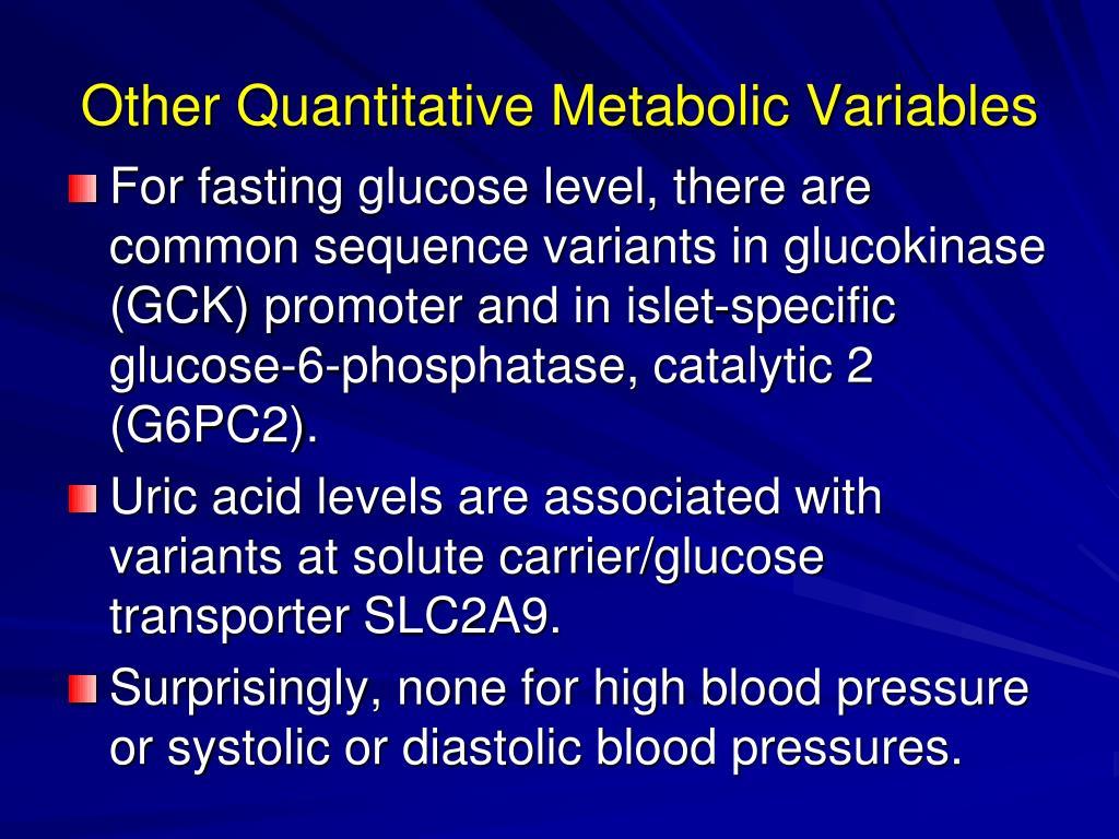 Other Quantitative Metabolic Variables