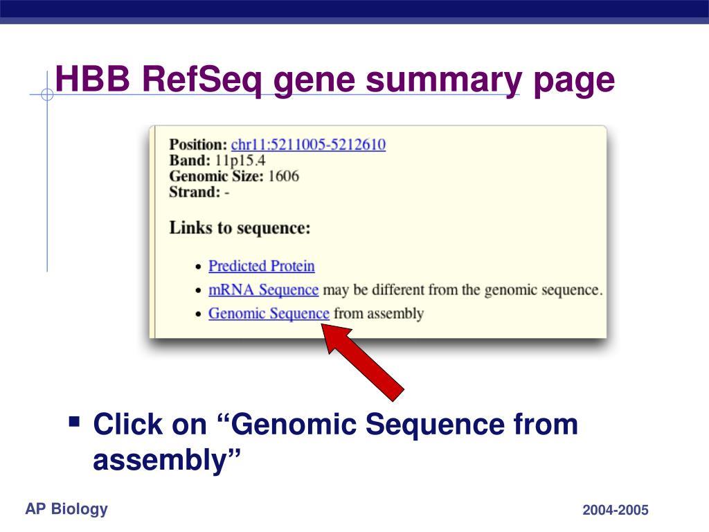 HBB RefSeq gene summary page