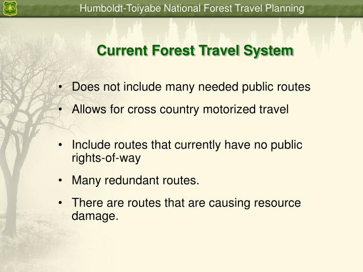 Current Forest Travel System
