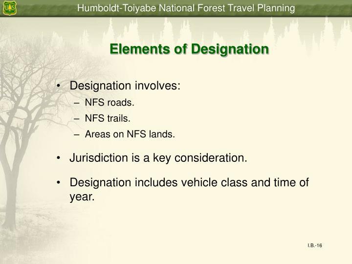 Elements of Designation