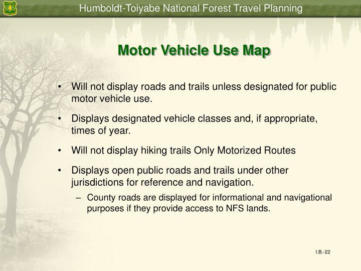 Motor Vehicle Use Map