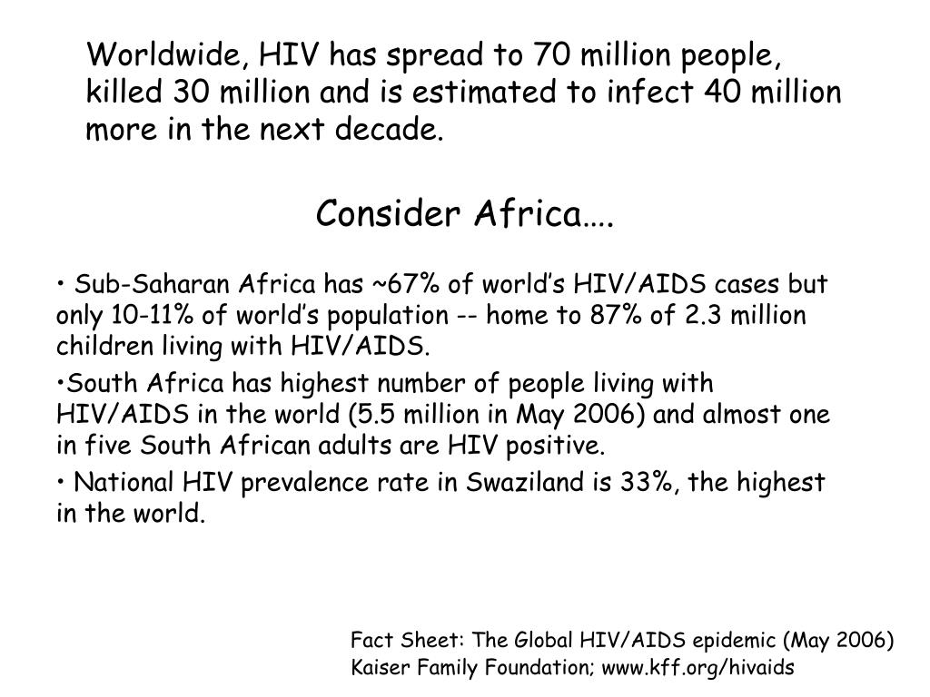Worldwide, HIV has spread to 70 million people, killed 30 million and is estimated to infect 40 million more in the next decade.