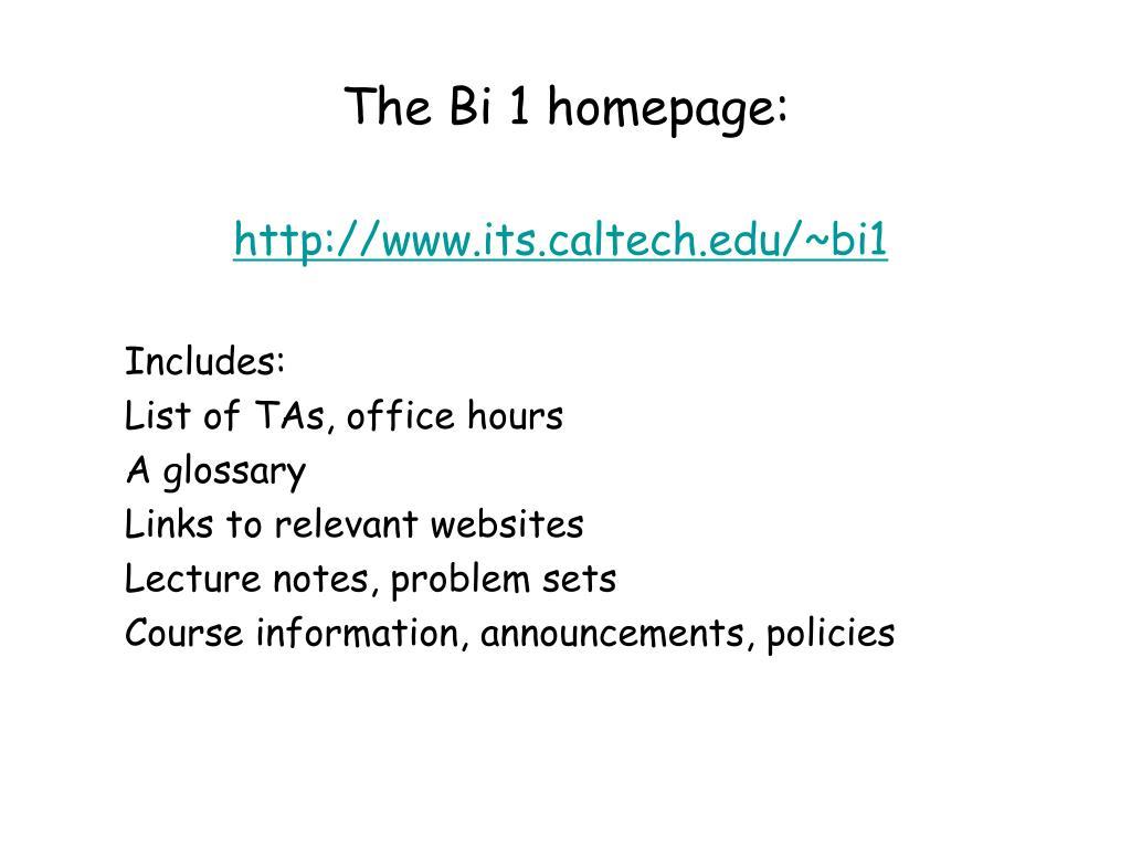 The Bi 1 homepage: