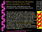 hipaa health insurance portability and accountability act of 1996