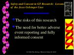 safety and consent in gt research lessons of the jesse gelsinger case