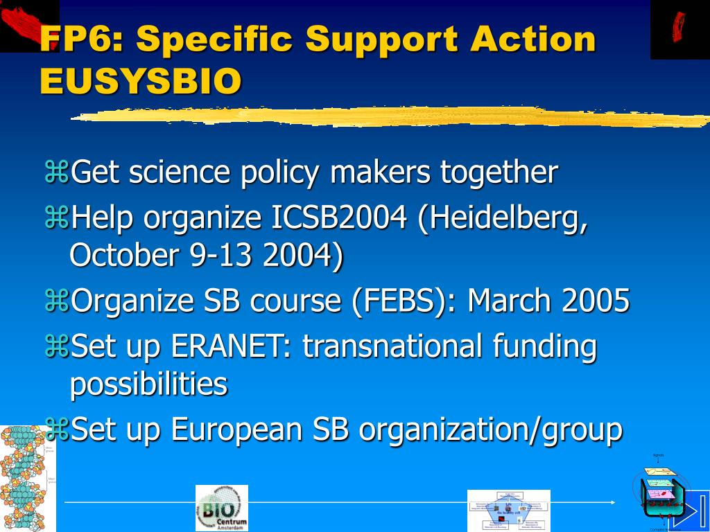 FP6: Specific Support Action EUSYSBIO