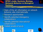 wtec study systems biology network behavior in biological systems