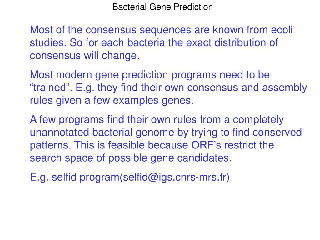 Bacterial Gene Prediction