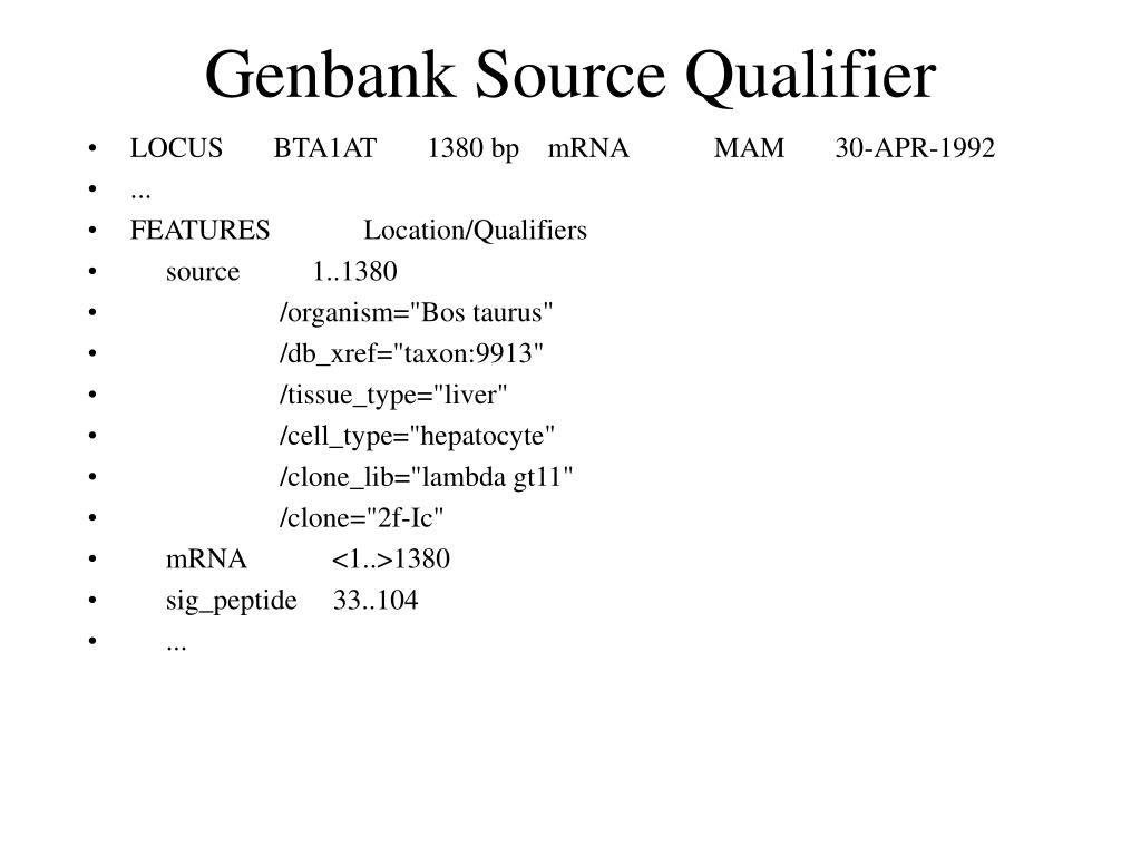 Genbank Source Qualifier