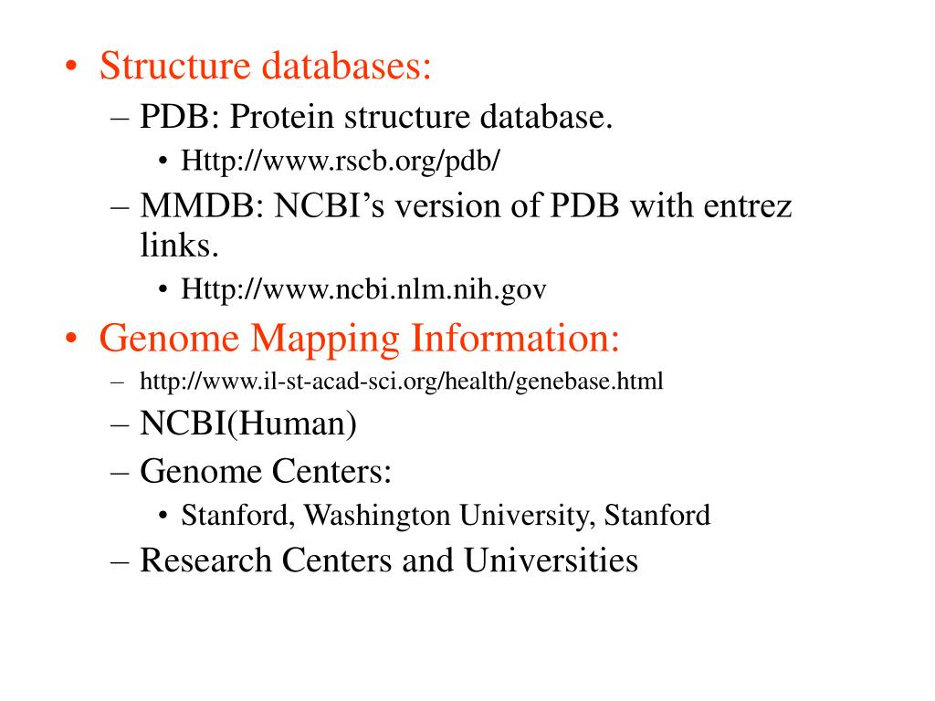 Structure databases: