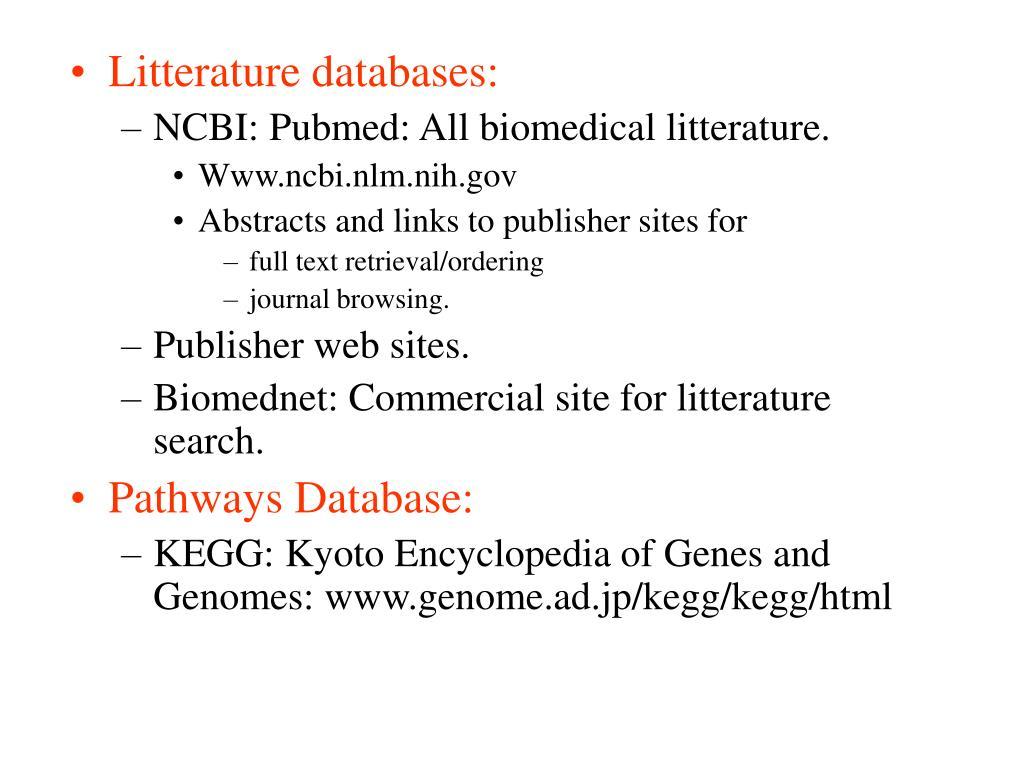 Litterature databases: