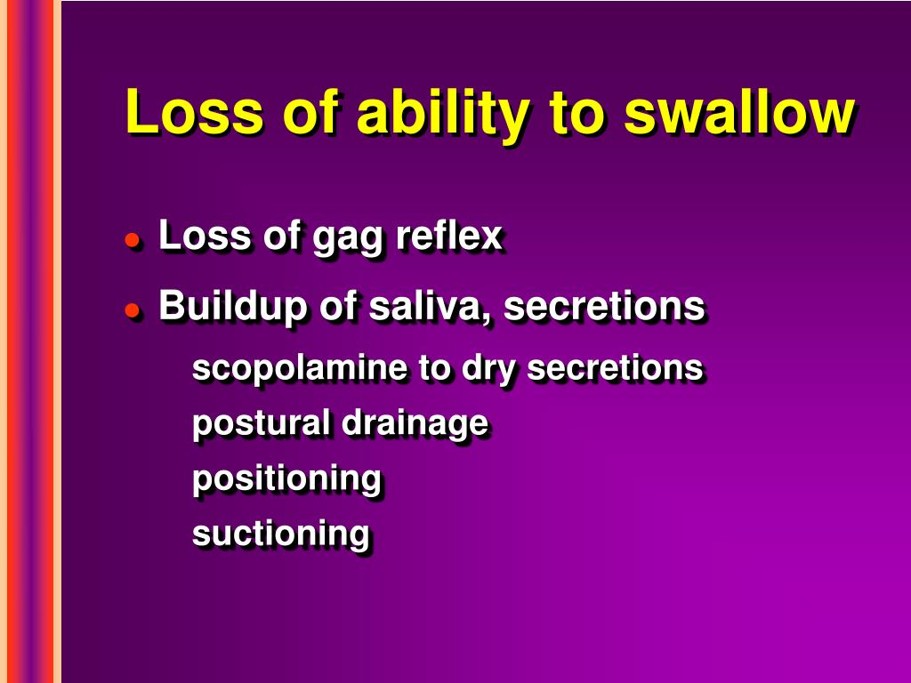 Loss of ability to swallow