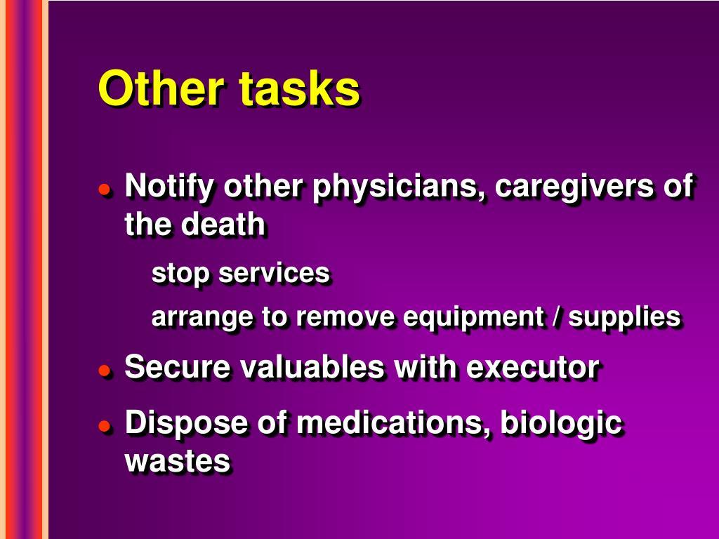 Other tasks