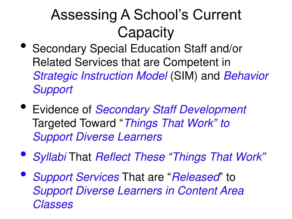 Assessing A School's Current Capacity