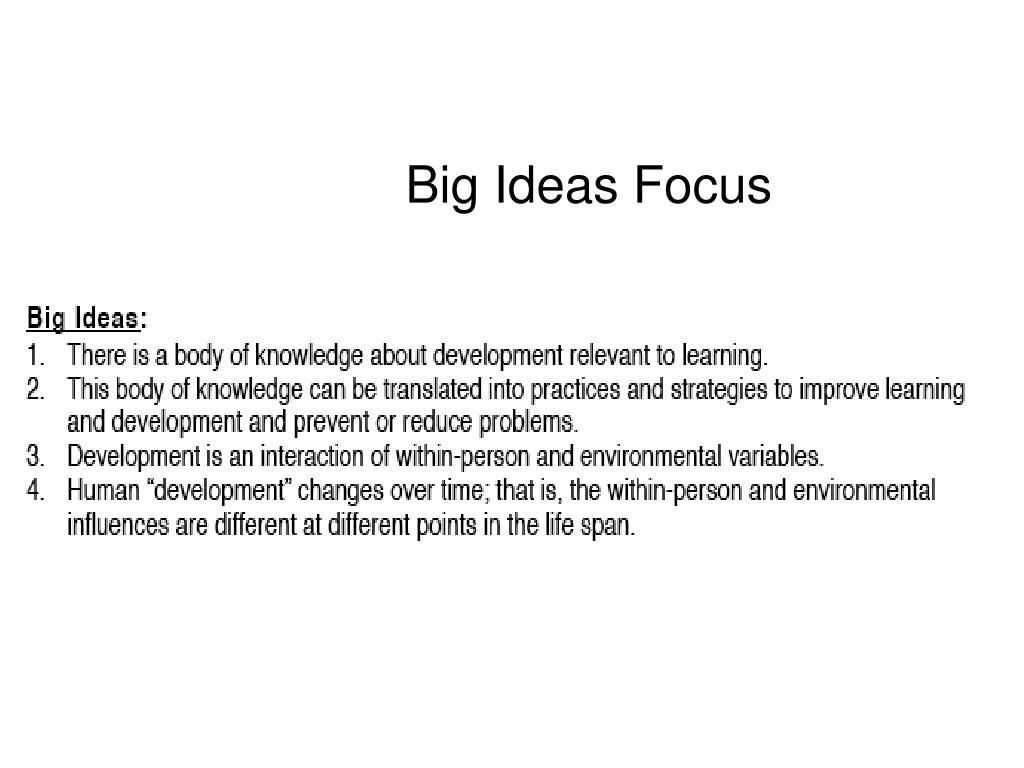 Big Ideas Focus