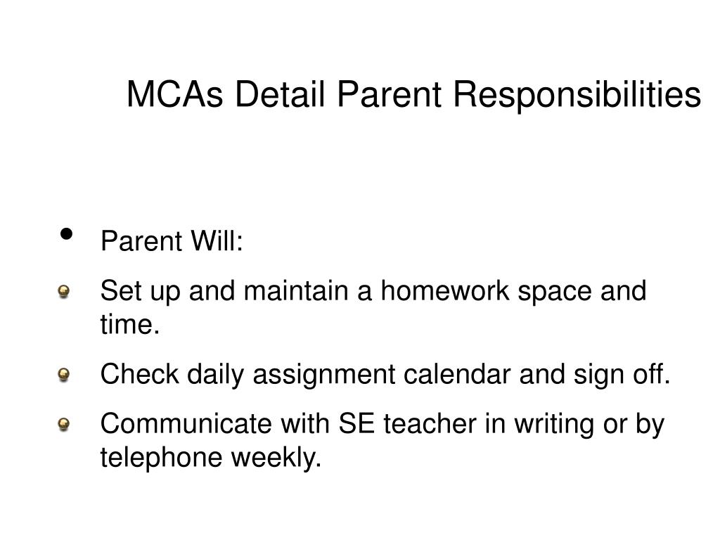 MCAs Detail Parent Responsibilities