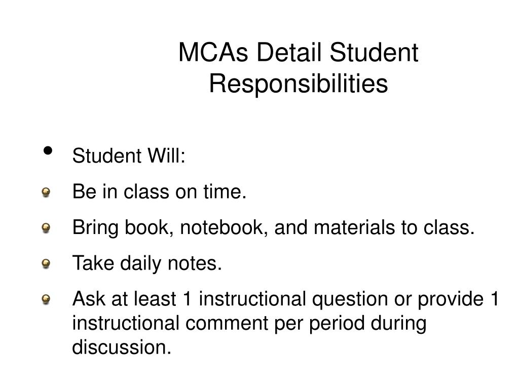 MCAs Detail Student Responsibilities