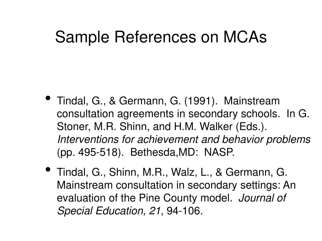 Sample References on MCAs