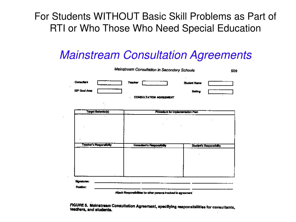 For Students WITHOUT Basic Skill Problems as Part of RTI or Who Those Who Need Special Education