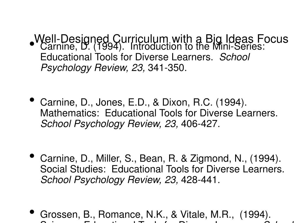 Well-Designed Curriculum with a Big Ideas Focus