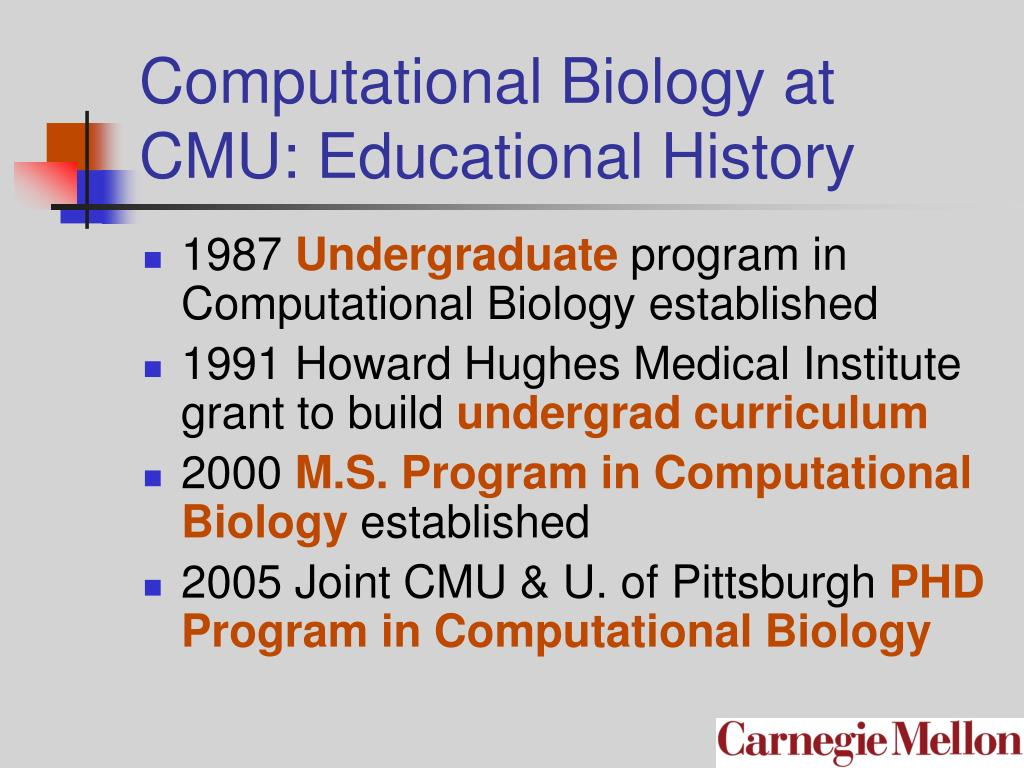 Computational Biology at CMU: Educational History