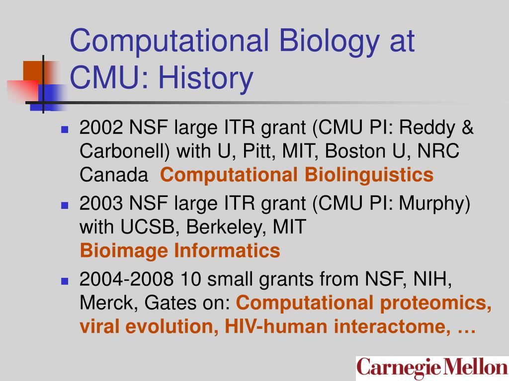 Computational Biology at CMU: History