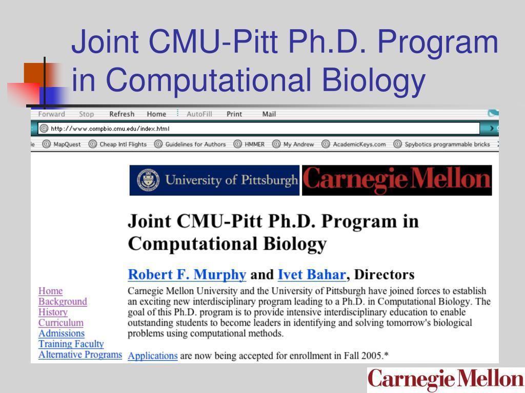 Joint CMU-Pitt Ph.D. Program in Computational Biology
