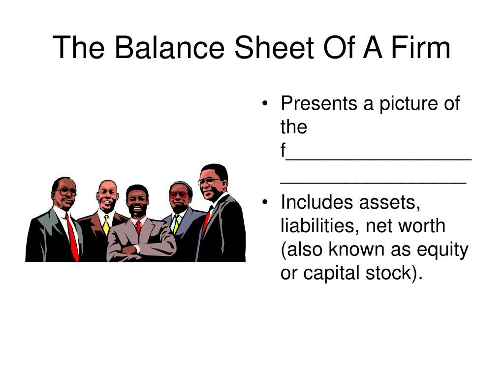 The Balance Sheet Of A Firm