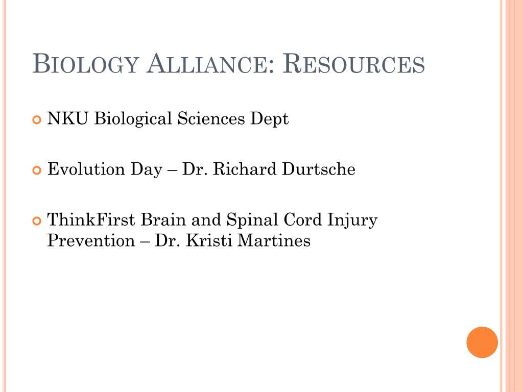 Biology Alliance: Resources