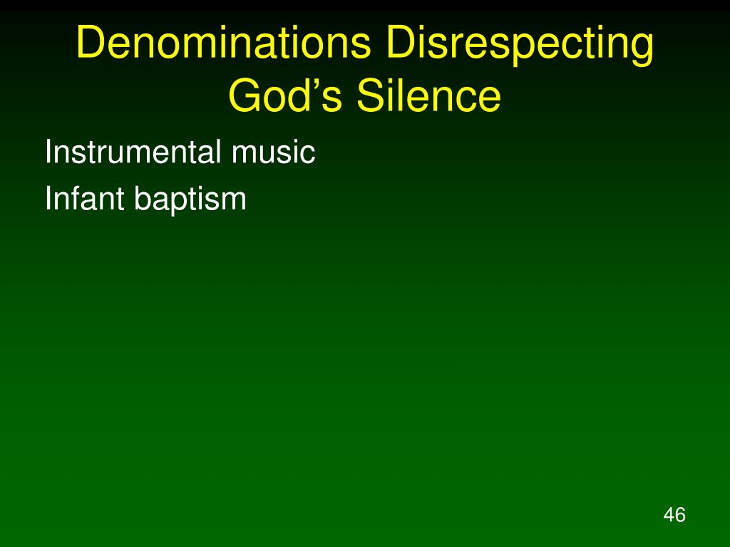 Denominations Disrespecting God's Silence