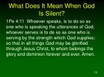 what does it mean when god is silent10