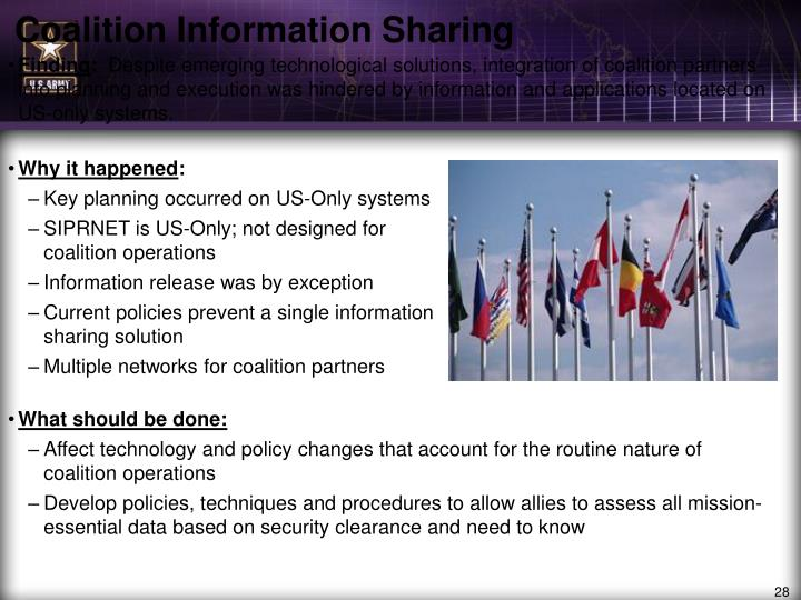 Coalition Information Sharing