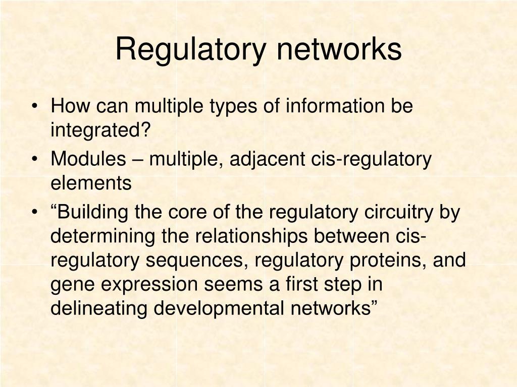Regulatory networks