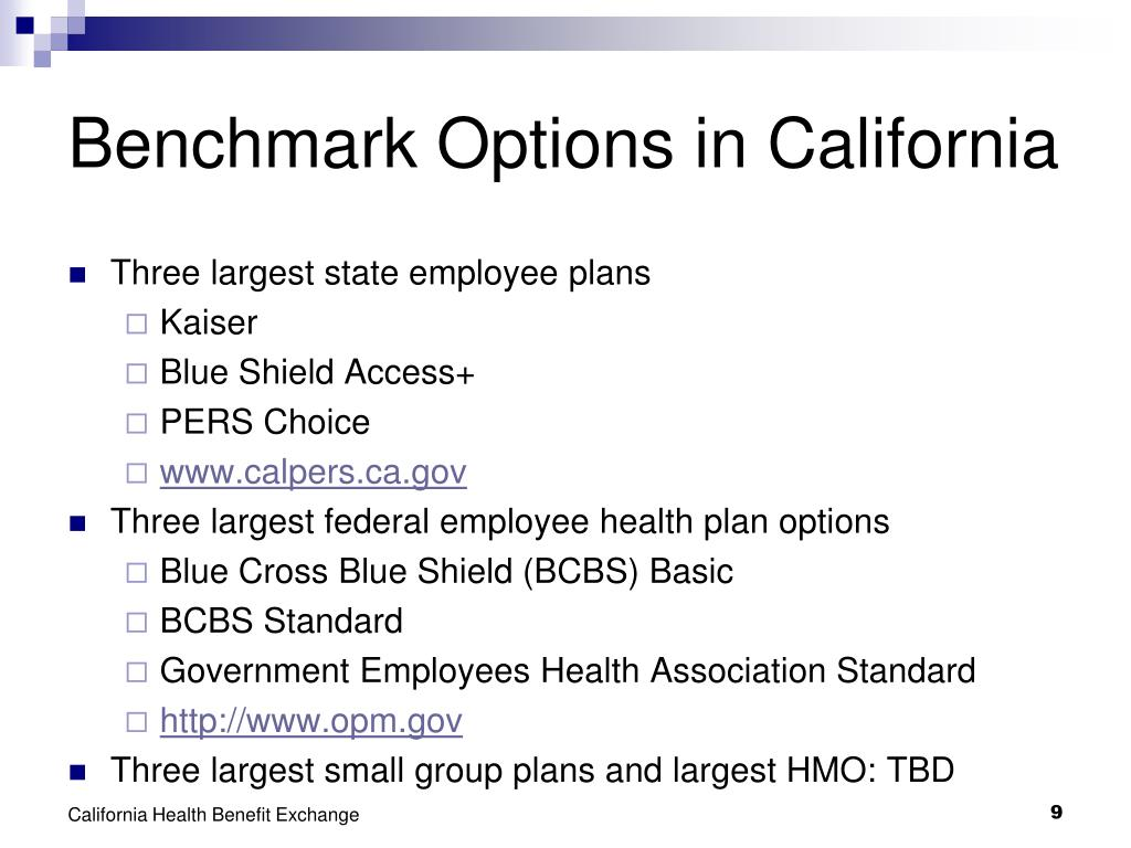Benchmark Options in California