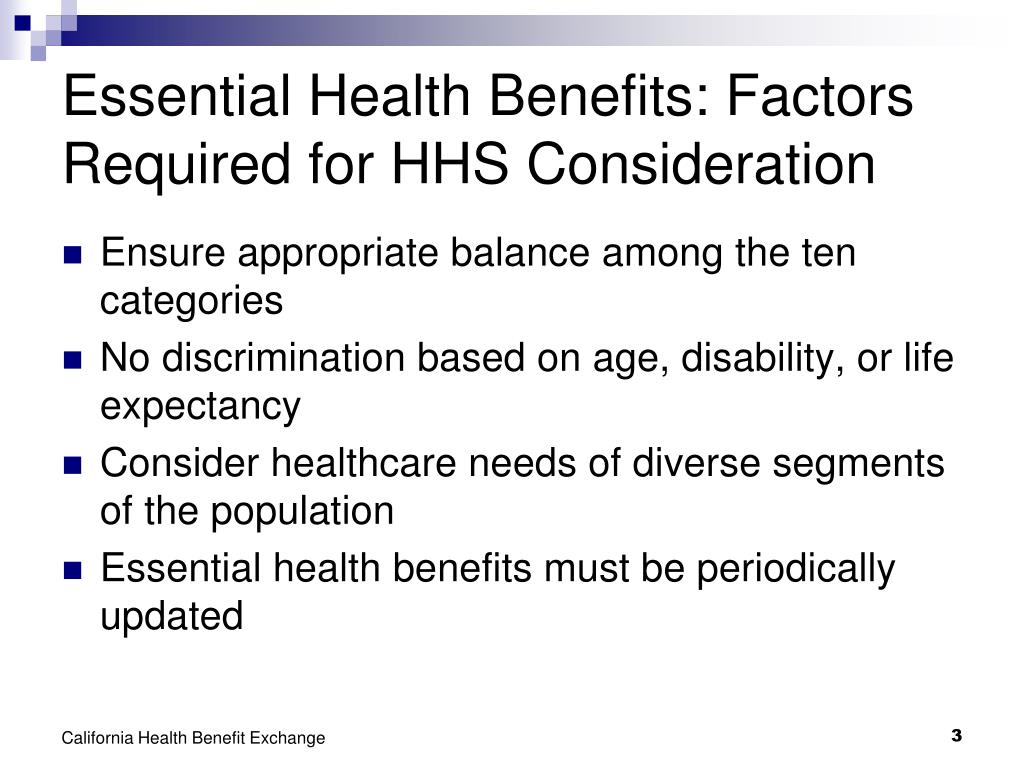 Essential Health Benefits: Factors Required for HHS Consideration
