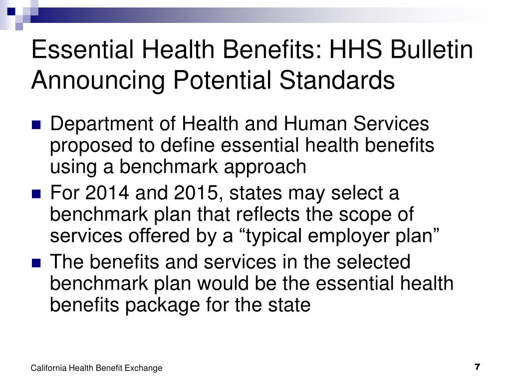Essential Health Benefits: HHS Bulletin Announcing Potential Standards