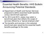 essential health benefits hhs bulletin announcing potential standards