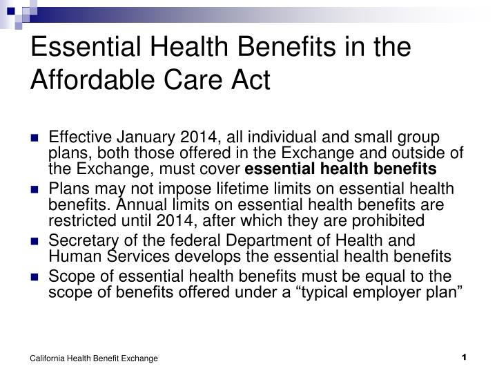 Essential health benefits in the affordable care act l.jpg