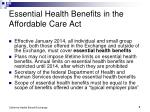 essential health benefits in the affordable care act
