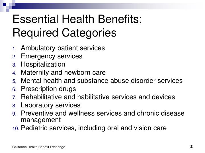 Essential health benefits required categories l.jpg