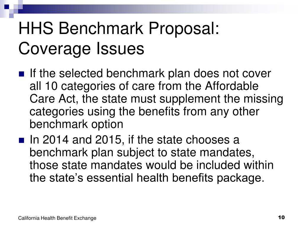 HHS Benchmark Proposal: Coverage Issues