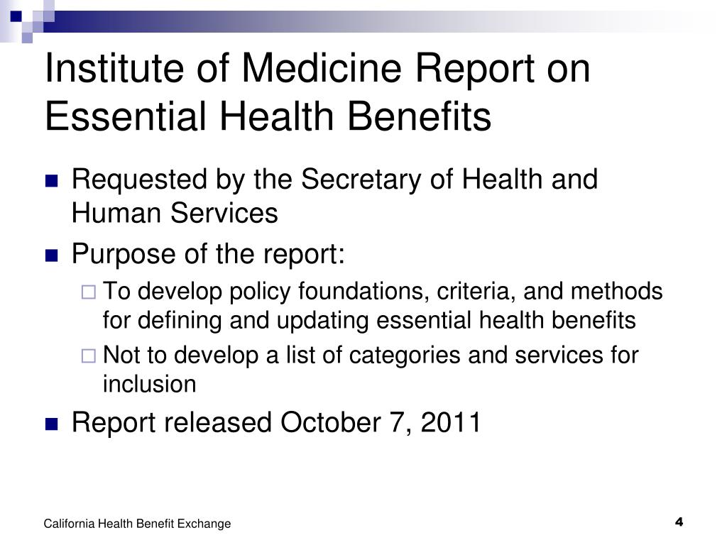Institute of Medicine Report on Essential Health Benefits