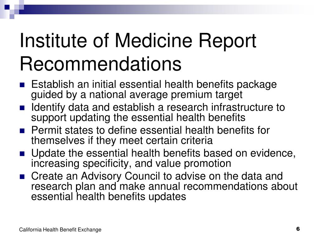 Institute of Medicine Report Recommendations
