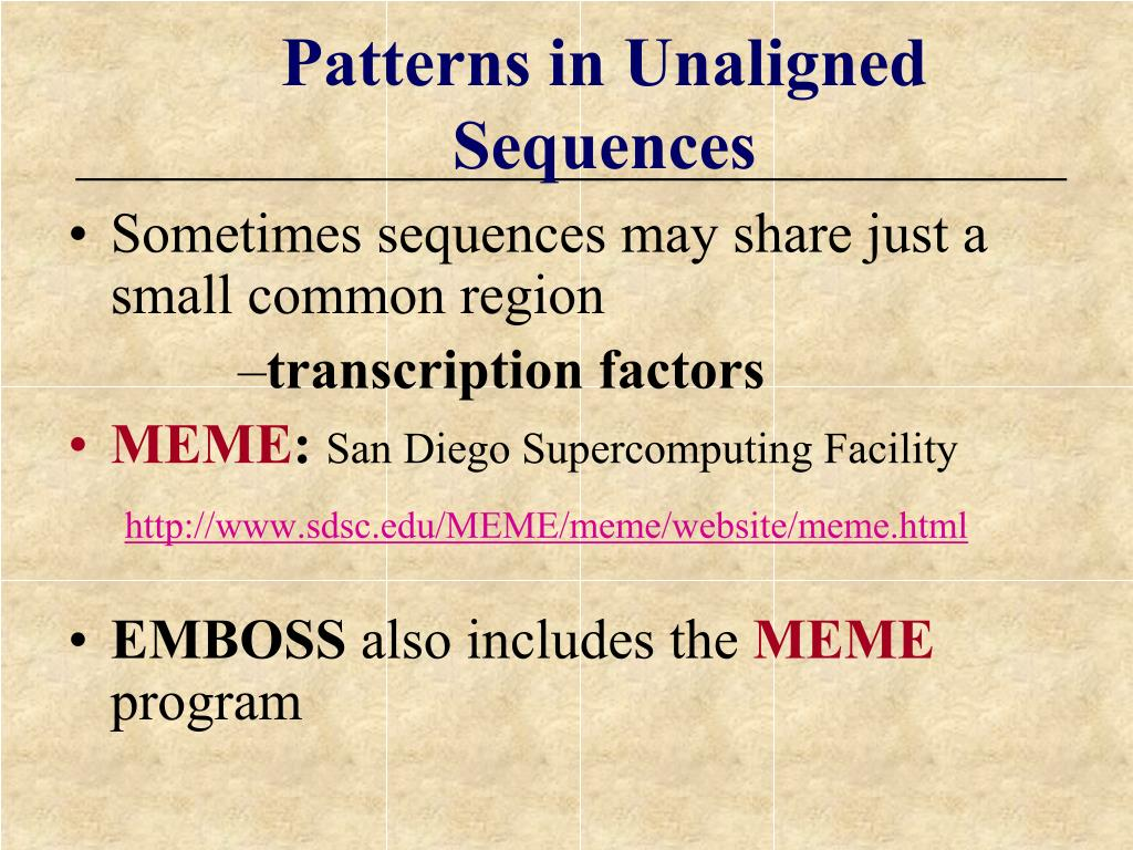 Patterns in Unaligned Sequences
