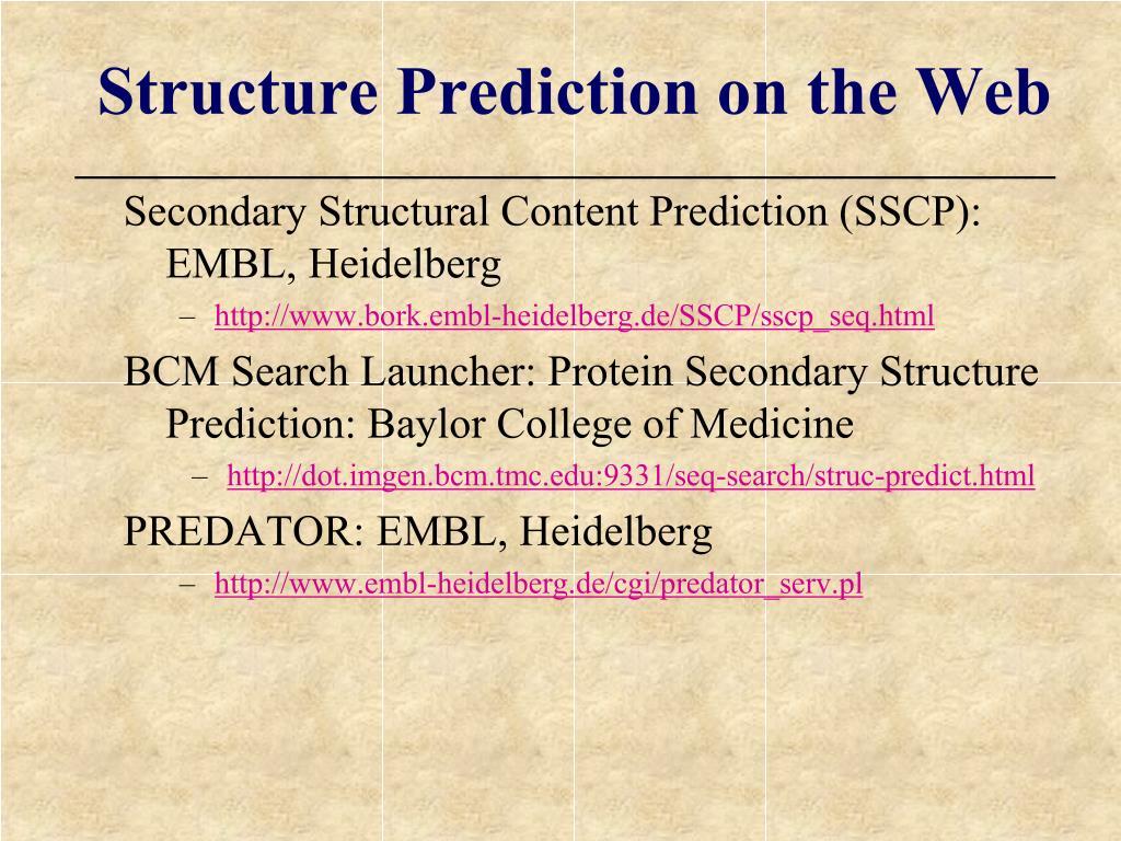 Secondary Structural Content Prediction (SSCP): EMBL, Heidelberg