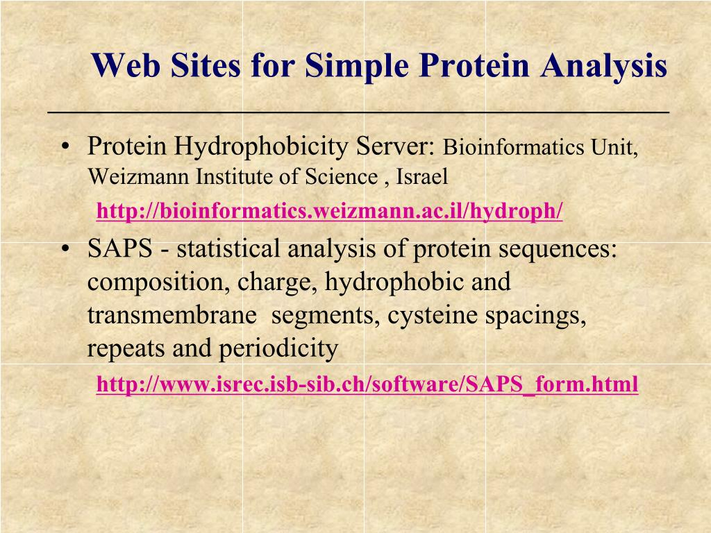Web Sites for Simple Protein Analysis