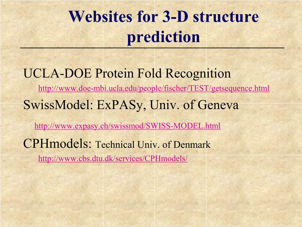 Websites for 3-D structure prediction
