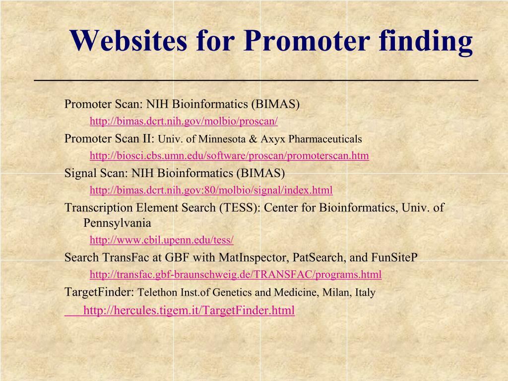 Websites for Promoter finding